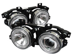 Spyder Auto  BMW E34 5-Series 89-94 / BMW E32 7-Series 88-92 Projector Headlights - WILL NOT FIT 750 - LED Halo - Chrome - High H1 (Included) - Low H1 (Included)