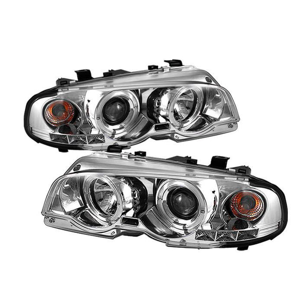 Spyder Auto  BMW E46 3-Series 00-03 2DR / M3 01-06 2DR 1PC Projector Headlights - LED Halo - LED ( Replaceable LEDs ) - Chrome - High H1 (Included) - Low H1 (Included) - Modern Automotive Performance