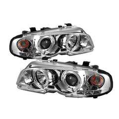 Spyder Auto  BMW E46 3-Series 00-03 2DR / M3 01-06 2DR 1PC Projector Headlights - LED Halo - LED ( Replaceable LEDs ) - Chrome - High H1 (Included) - Low H1 (Included)