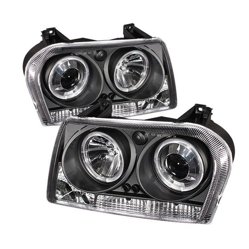 Spyder Auto Chrysler 300 05-08 Projector Headlights - LED Halo - LED ( Replaceable LEDs ) - Black - High H1 (Included) - Low 9006 (Not Included) - Modern Automotive Performance