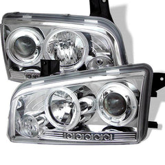 Spyder Auto Dodge Charger 06-10 Projector Headlights - Halogen Model Only ( Not Compatiable With Xenon/HID Model ) - LED Halo - LED ( Replaceable LEDs ) - Chrome -  High H1 (Included) - Low 9006 (Not Included)
