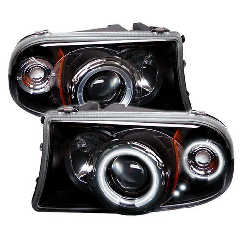Spyder Auto Dodge Dakota 97-04 / Durango 98-03 1PC Projector Headlights - CCFL Halo - LED ( Replaceable LEDs ) - Black - High H1 (Included) - Low H1 (Included) - Modern Automotive Performance