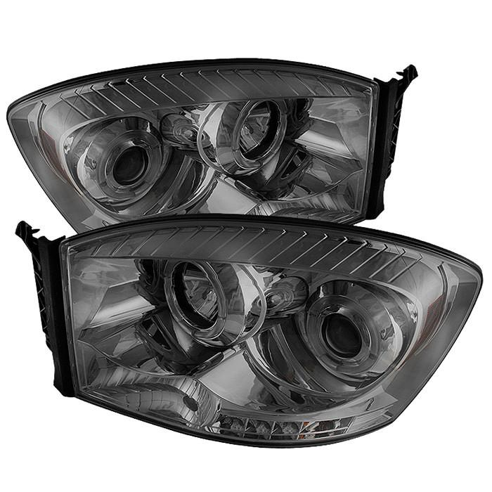Spyder Auto Dodge Ram 1500 06-08 / Ram 2500/3500 06-09 Projector Headlights  - LED Halo - LED ( Replaceable LEDs ) - Smoke - High H1 (Included) - Low