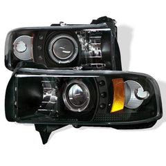 Spyder Auto Dodge Ram 1500 94-01 / Ram 2500/3500 94-02 Projector Headlights - ( Do Not Fit Sport Model ) - LED Halo - LED ( Replaceable LEDs ) - Black - High H1 (Included) - Low H1 (Included)