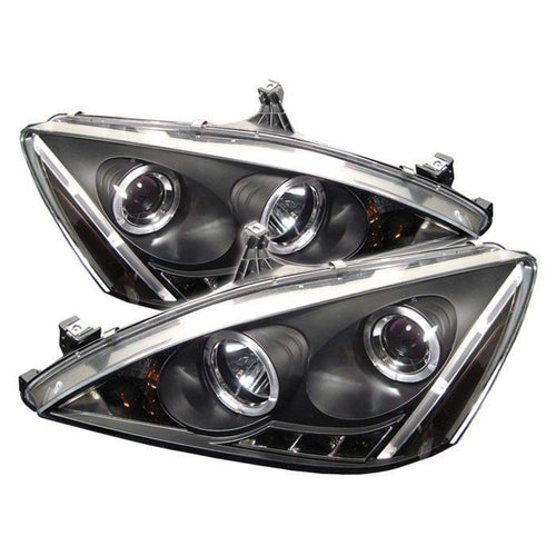 Spyder Auto Honda Accord 03-07 Projector Headlights - LED Halo - Amber Reflector - LED ( Replaceable LEDs ) - High H1 (Included) - Low H1 (Included) - Black - Modern Automotive Performance