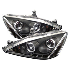 Spyder Auto Honda Accord 03-07 Projector Headlights - LED Halo - Amber Reflector - LED ( Replaceable LEDs ) - High H1 (Included) - Low H1 (Included) - Black