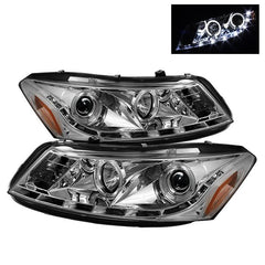 Spyder Auto Honda Accord 08-12 4Dr Projector Headlights- LED Halo - DRL - Chrome - High H1 (Included) - Low H1 (Included)