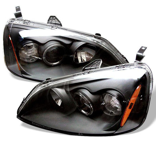 Spyder Auto Honda Civic 01-03 2/4DR Projector Headlights - ( Do Not Fit SI Model ) - LED Halo - Amber Reflector - Black - High H1 (Included) - Low H1 (Included) - Modern Automotive Performance