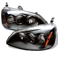 Spyder Auto Honda Civic 01-03 2/4DR Projector Headlights - ( Do Not Fit SI Model ) - LED Halo - Amber Reflector - Black - High H1 (Included) - Low H1 (Included)