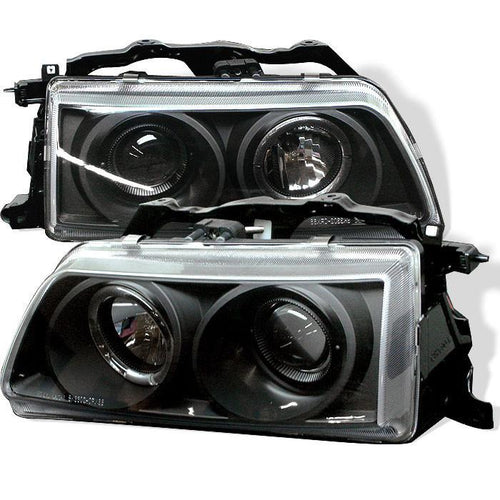 Spyder Auto Honda Civic 90-91 / CRX 90-91 Projector Headlights - LED Halo - Black - High H1 (Included) - Low H1 (Included) - Modern Automotive Performance