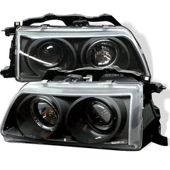 Spyder Auto Honda Civic 90-91 / CRX 90-91 Projector Headlights - LED Halo - Black - High H1 (Included) - Low H1 (Included)