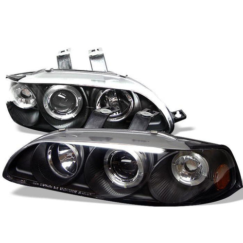Spyder Auto Honda Civic 92-95 4Dr 1PC Projector Headlights - LED Halo - Amber Reflector - Black - High H1 (Included) - Low H1 (Included) - Modern Automotive Performance
