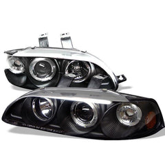 Spyder Auto Honda Civic 92-95 4Dr 1PC Projector Headlights - LED Halo - Amber Reflector - Black - High H1 (Included) - Low H1 (Included)