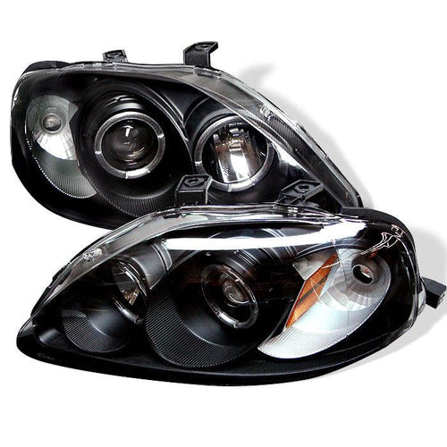 Spyder Auto Honda Civic 99-00 Projector Headlights - LED Halo - Black - High H1 (Included) - Low H1 (Included) - Modern Automotive Performance