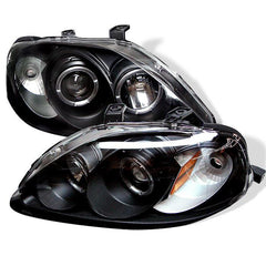 Spyder Auto Honda Civic 99-00 Projector Headlights - LED Halo - Black - High H1 (Included) - Low H1 (Included)