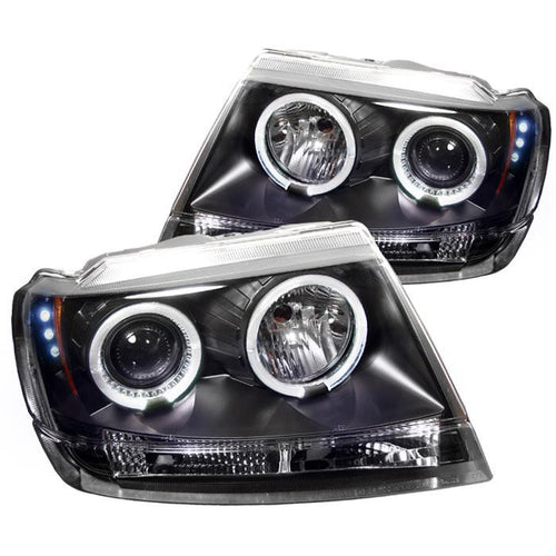 Spyder Auto Jeep Grand Cherokee 99-04 Projector Headlights - LED Halo - LED ( Replaceable LEDs ) - Black - High 9005 (Not Included) - Low 9006 (Not Included) - Modern Automotive Performance
