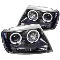Spyder Auto Jeep Grand Cherokee 99-04 Projector Headlights - LED Halo - LED ( Replaceable LEDs ) - Black - High 9005 (Not Included) - Low 9006 (Not Included)