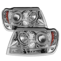 Spyder Auto Jeep Grand Cherokee 99-04 Projector Headlights - LED Halo - LED ( Replaceable LEDs ) - Chrome - High 9005 (Not Included) - Low 9006 (Not Included)
