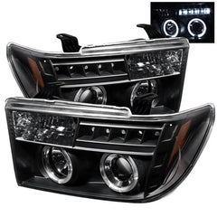 Spyder Auto Toyota Tundra 07-13 / Toyota Sequoia 08-13 Projector Headlights - LED Halo - LED ( Replaceable LEDs ) - Black - High H1 (Included) - Low H1 (Included)