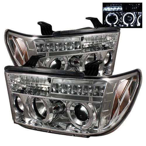 Spyder Auto Toyota Tundra 07-13 / Toyota Sequoia 08-13 Projector Headlights - LED Halo - LED ( Replaceable LEDs ) - Chrome - High H1 (Included) - Low H1 (Included) - Modern Automotive Performance