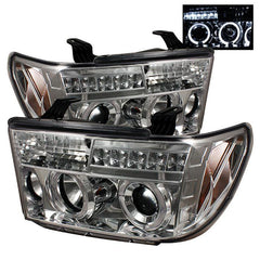 Spyder Auto Toyota Tundra 07-13 / Toyota Sequoia 08-13 Projector Headlights - LED Halo - LED ( Replaceable LEDs ) - Chrome - High H1 (Included) - Low H1 (Included)