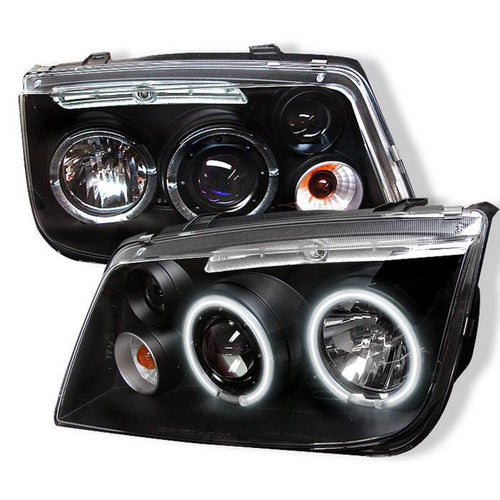 Spyder Auto Volkswagen Jetta 99-05 Projector Headlights - CCFL Halo - Black - High H1 (Included) - Low H1 (Included) - Modern Automotive Performance