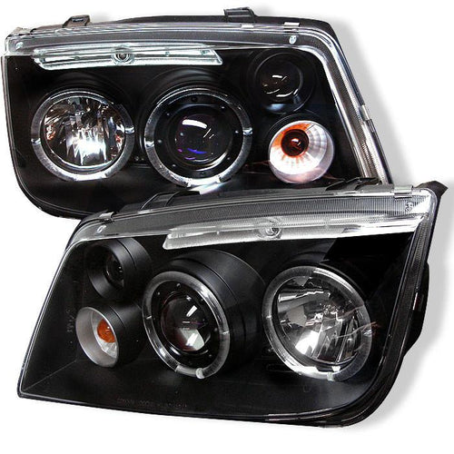Spyder Auto Volkswagen Jetta 99-05 Projector Headlights - LED Halo - Black - High H1 (Included) - Low H1 (Included) - Modern Automotive Performance
