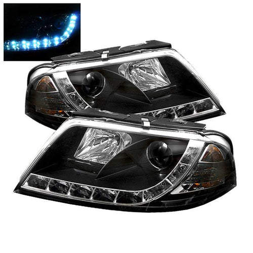Spyder Auto Volkswagen Passat 01-05 Projector Headlights - DRL - Black - High H1 (Included) - Low H1 (Included) - Modern Automotive Performance