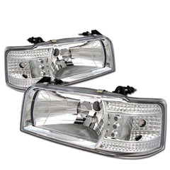 Spyder Auto Ford F150 92-96 / Ford Bronco 92-96 1PC LED ( Replaceable LEDs ) Crystal Headlights - Chrome
