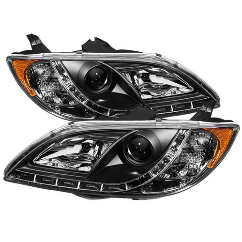 Spyder Auto  Mazda 3 04-08 4Dr Sedan Projector Headlights - Halogen Model Only ( Not Compatible With Xenon/HID Model ) - ( Do Not Fit Hatchback Model ) - DRL - Black - High H1 (Included) - Low H1 (Included) - Modern Automotive Performance