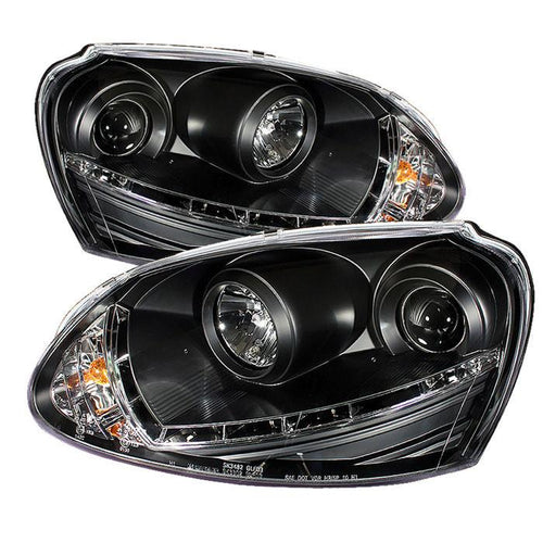 Spyder Auto Volkswagen GTI 06-09 / Jetta 06-09 / Rabbit 06-09 Projector Headlights - Halogen Model Only ( Not Compatible With Xenon/HID Model ) - DRL - Black - High H1 (Included) - Low H1 (Not Included) - Modern Automotive Performance