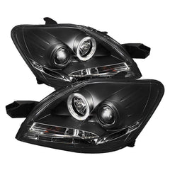 Spyder Auto Toyota Yaris 07-11 4Dr Projector Headlights - LED Halo - DRL - Black - High H1 (Included) - Low H1 (Included)