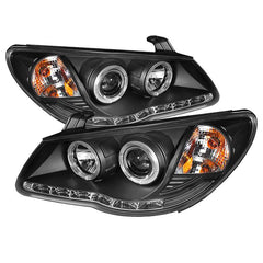 Spyder Auto Hyundai Elantra 07-10 Projector Headlights - LED Halo - DRL - Black - High H1 (Included) - Low H7 (Included)
