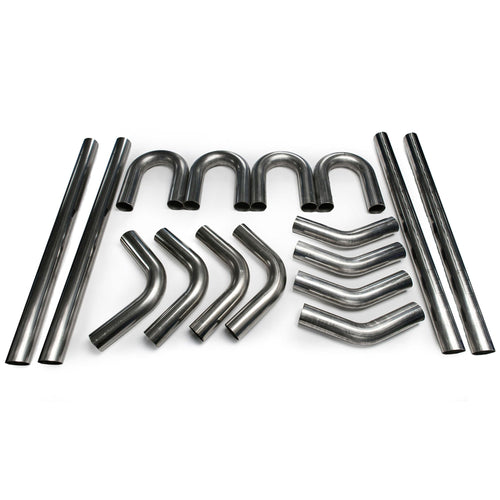 "Squirrelly 2.5"" 304 Stainless Mandrel Bend Kit / 45 / 180 / 90 / Straight Exhaust Tubing"