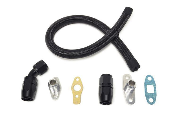 STM Braided Nylon -10AN Turbo Oil Return Line G-Series | 2003-2006 Mitsubishi Lancer Evolution VIII-IX