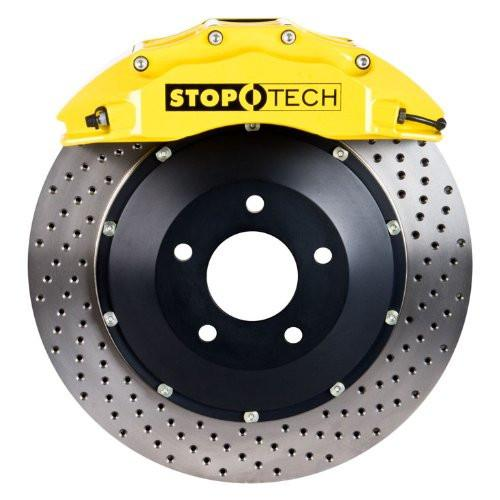 StopTech Front BBK w/ Blue ST-40 Caliper Drilled 328X28 2pc Rotor | 2015-2017 Volkswagen MK7 GTI