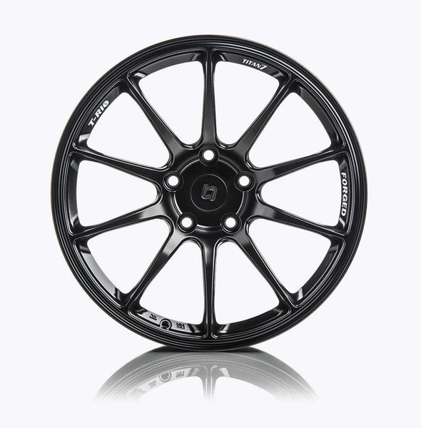 "Titan 7 T-R10 5x108 18x9.0"" +38mm Offset Machine Black Wheels"
