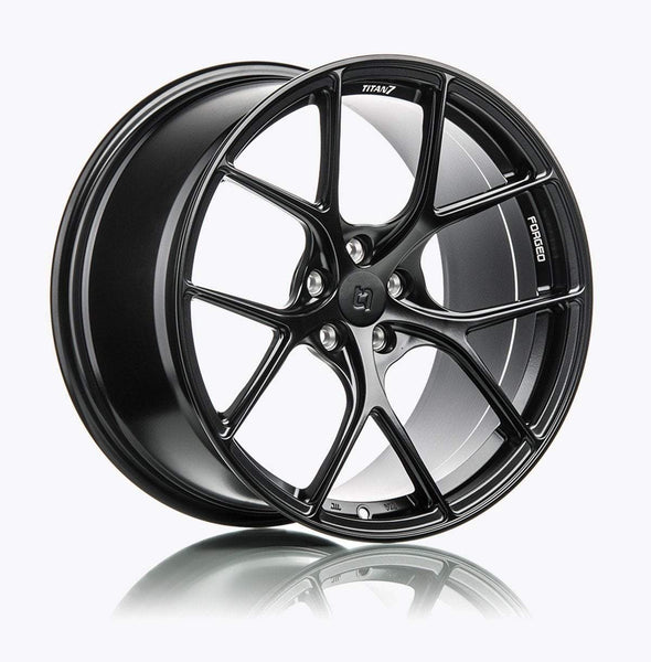 "Titan 7 T-S5 5x114.3 17x9.5"" +57mm Offset Machine Black Wheels"