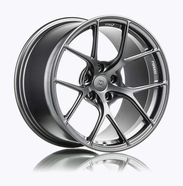 "Titan 7 T-S5 5x114.3 17x9.5"" +57mm Offset Satin Titanium Wheels"