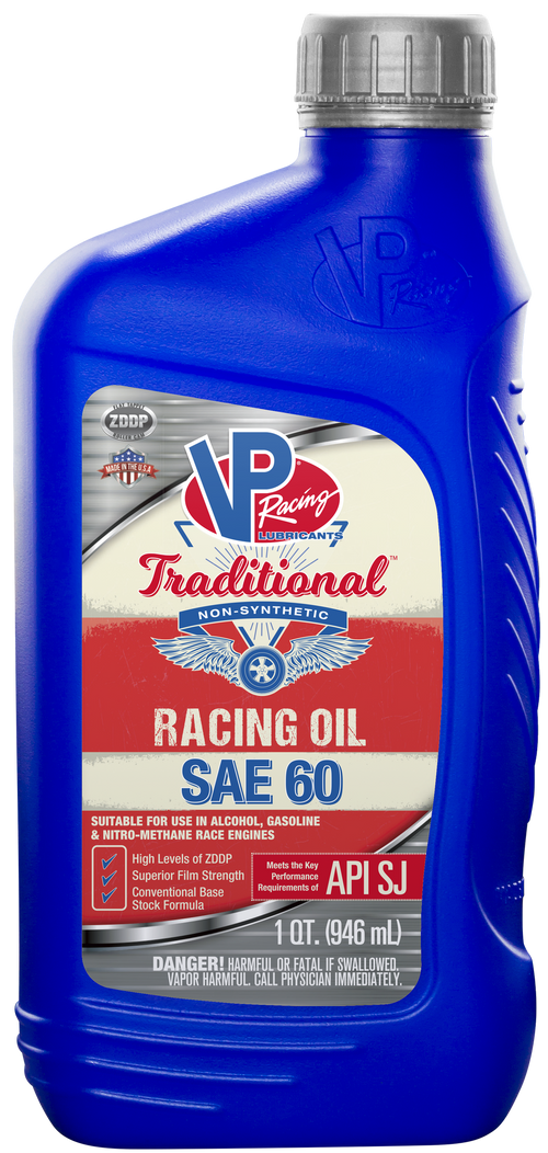 VP Racing Fuels SAE 60 Traditional Non Syn Racing Oil - 1 Quart (2687)