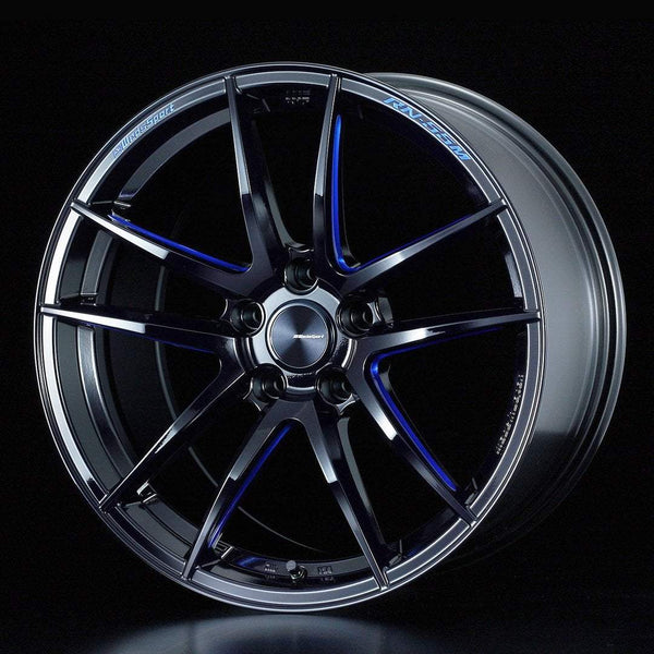 "WedsSport RN-55M 5x114.3 18"" Black Blue Machined Wheels"