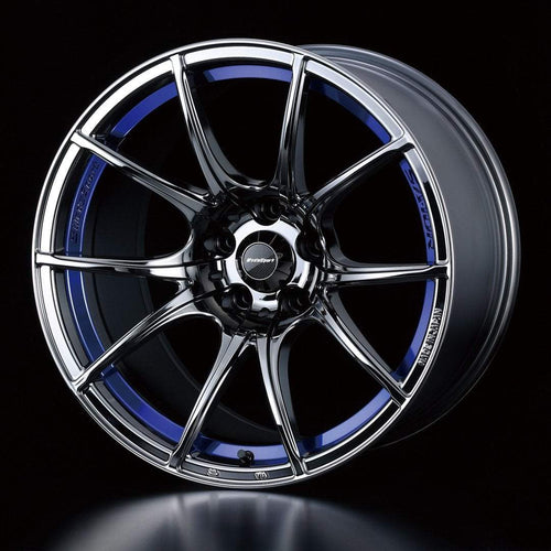 "WedsSport SA-10R 5x100 18"" Blue Light Chrome Wheels"