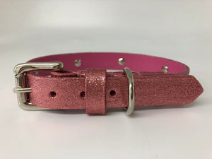Pink Glitter Spike Leather Dog Collar