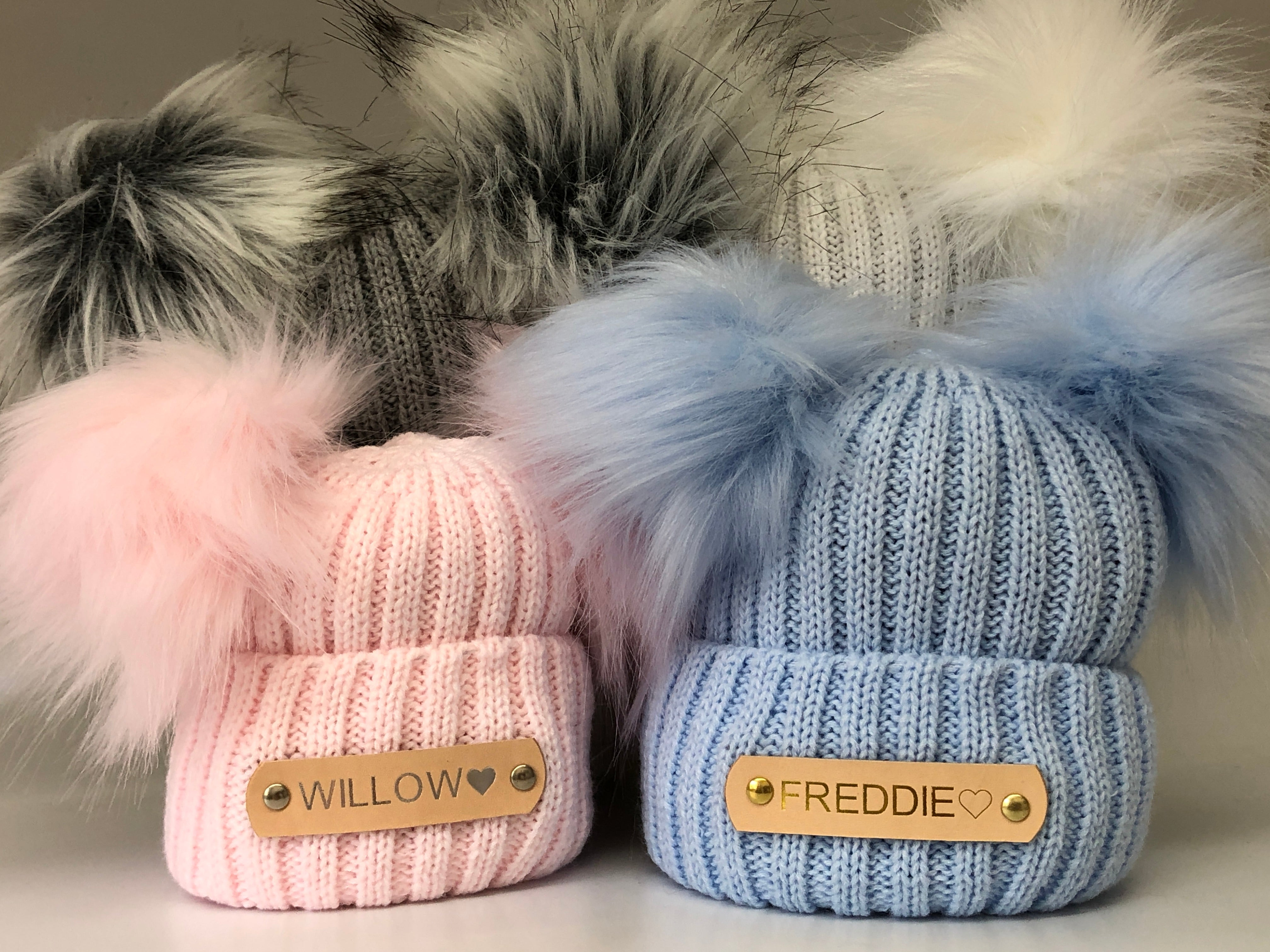 knitted Pom Pom baby hats
