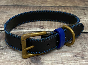 Black Ribcage Leather Dog Collar