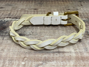 White Plaited Leather Dog Collar