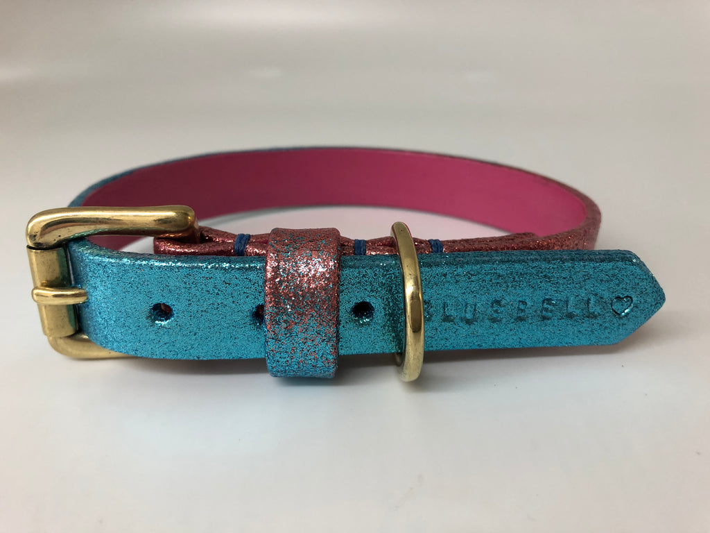 Blue & Pink Glitter Ombre Leather Dog Collar