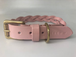Personalised Pastel Pink Plaited Leather Dog Collar and Lead Set