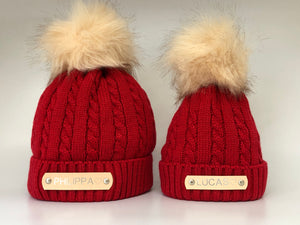 Matching Parent and Baby Red Knitted Pom Pom Hats