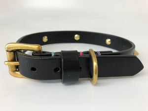 Black Spike Leather Dog Collar
